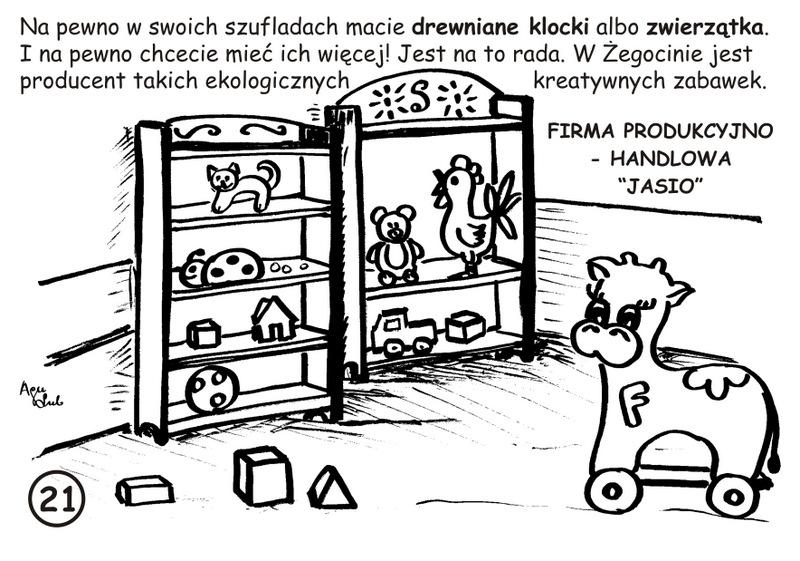 21-21. Drewniane zabawki - JASIO - kolorowanka